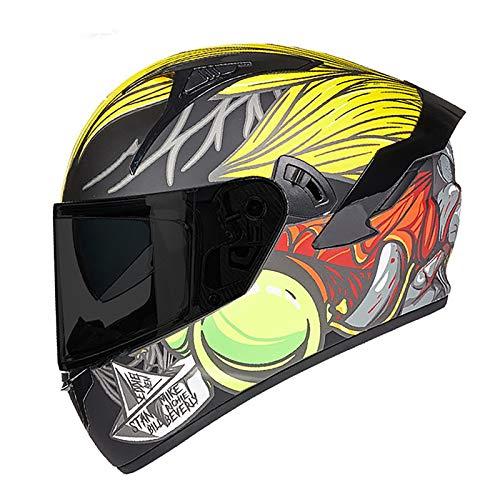 Cascos de Motocicleta,Adultos Casco de Moto Integral,ECE Homologado Casco Motocicleta Protector Casco con HD Visera,Material ABS Casco de Protección Gorras de Seguridad B,3XL=64~65cm