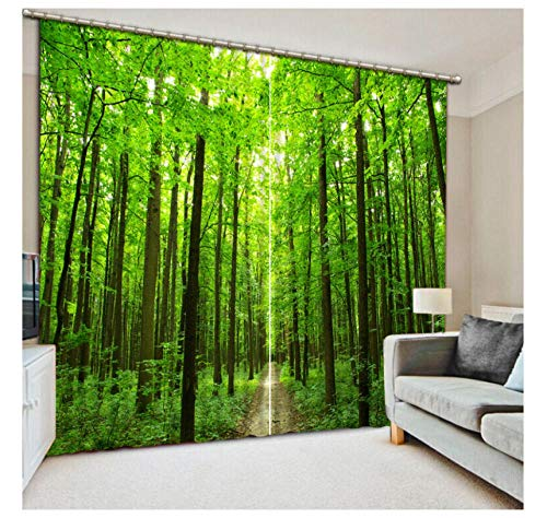 SHANGZHIQIN 3D Curtain Bedroom Green Forest Road Photo Shading Curtain Curtain Luxury 3D Curtain Living Room Office