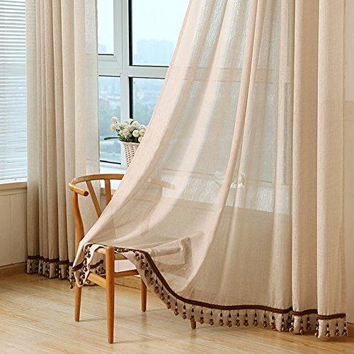 YOLI Cortinas De Traslúcidas, Sala De Estar Enfriar Windows Decoración Cortinas Opaca Privacidad Guirnaldas-marrón Claro 150x270cm(59x106inch)