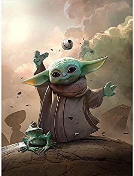 Tobal Yoda Baby 5D Diamond Painting Star WarsMandalorian Diamonds Embroidery Full Round Mosaic Wall Art Picture for Home Decoration Kids Gift