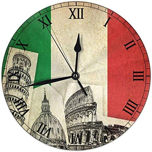 Cy-ril Vintage Grunge Italia Bandera Reloj de Pared Redondo