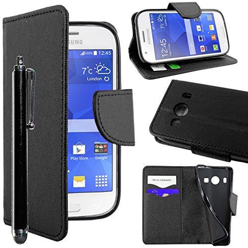 ebestStar - Coque Compatible avec Samsung Ace 4 Galaxy SM-G357FZ Etui PU Cuir Housse Portefeuille Porte-Cartes Support Stand + Stylet, Noir [Appareil: 121.4 x 62.9 x 10.8mm, 4.0'']