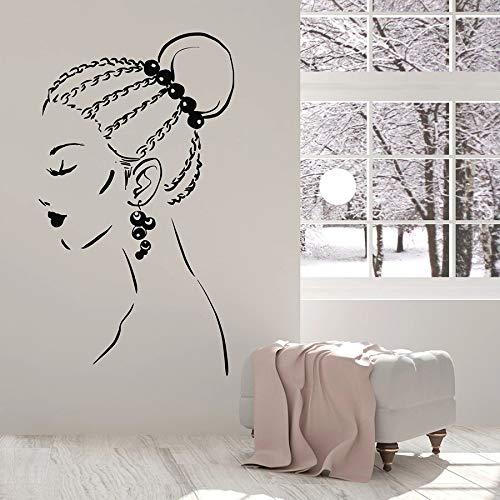 Hermosa chica calcomanías de pared trenzas faciales peinado pendientes vinilo pegatinas de ventana salón de belleza niñas dormitorio decoración de interiores