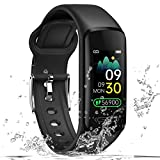 Luckykey Fitness Tracker V101 Waterproof Activity Tracker with Heart Rate/Body Temperature/ Blood Pressure/Sleep Monitor/Step Calorie Counter Smart Wristband Swipe Screen Self-Define Watch Face