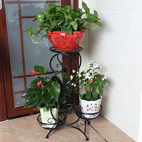 Udfybre Support de Fleur d'art de Fer, présentoir de Plante au Sol d'intérieur de Trois étages (45Cm Long * 27 cm de Large * 80cm de Haut) Blanc Couleur de café Noir