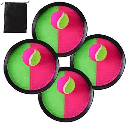 Locisne Klettball Set Klettballspiel, Self Stick Disc Paddel und Toss Ball Sportspiel mit Aufbewahrungstasche für Outdoor Indoor, 4 Paddel und 4 Bälle
