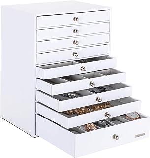 Caja Joyero Extra Grande, Organizador de Joyas de 9 Capas, Pendientes, Gafas de Sol, Pulseras, Relojes, Collares, Anillos, Regalo para Seres Queridos, Blanco Reutilizable