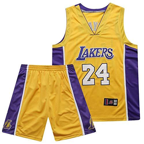 SSRSHDZW NBA Lakers Kobe Nr. 24 Full Secret - Uniforme de baloncesto bordado (talla S), color amarillo