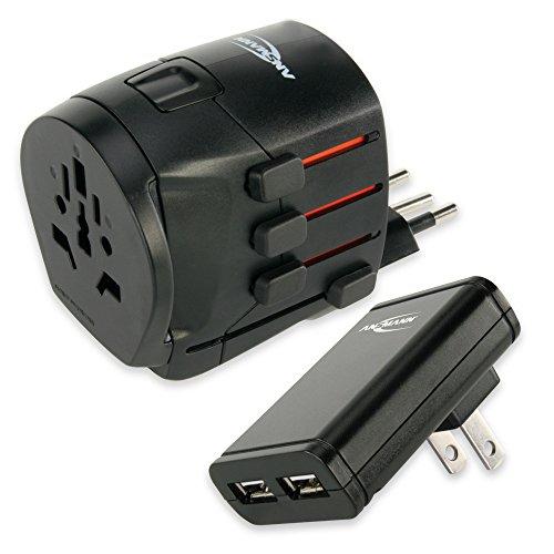 ANSMANN All in One 3 Universal Travel Adapter Worldwide (US, UK, EU, AU) Travel Power Plug World Charger AC Power Socket International + Dual USB Charger