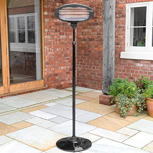 Harrier Rounded Standing Patio Heater - [9kg Heater] | 2-in-1 Wall Mounted & Freestanding Electric Heater | Portable Heater with 3 Heat Levels | Outdoor Heater for Patio & Garden