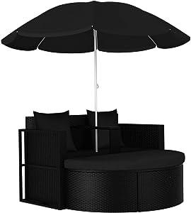 vidaXL Outdoor Wicker Rattan Furniture Sets, Outdoor Daybed, Sectional Sofa Set w/Parasol Conversation Sets for Lawn Garden Backyard Black