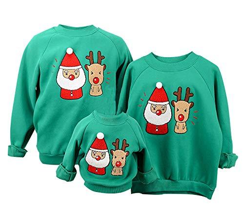 Sudaderas Navideñas Familiares Sudadera Navidad Hombre Mujer Niña Niño Jersey Suéter Navideño Sudadera Navideña Familia Reno Jerseys Navideños Parejas Cuello Redondo Ancha Larga Invierno Verde 2-4 T
