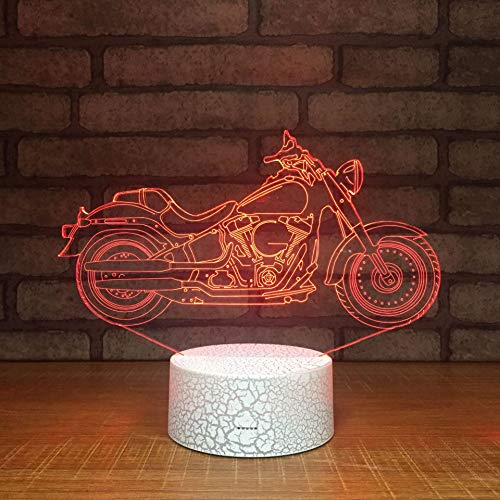 Retro Motorcycle 3D Night Light Novelty led Three-Dimensional Decoration Racing 3D Light Creative Gift Holiday Birthday Gift for boy Home Decoration