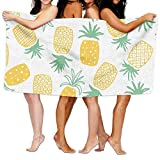 Gebrb Serviette de Bain, Serviettes de Toilette Unisex Yellow and Green Pineapple Print Pattern Over-Sized Cotton Bath Beach Travel Towels 31x51 inch