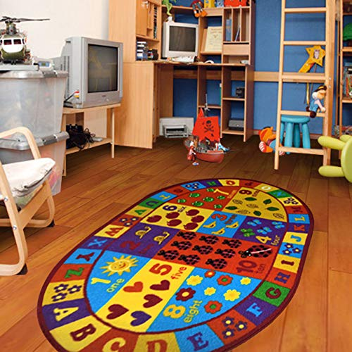 """Furnish my Place 740 Numbers 3x5 Kids ABC Educational Alphabet Letter Antiskid Oval, 3'3""""x5', Multicolor"""