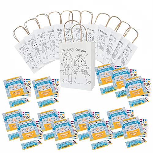 Kids Wedding Activities Wedding Coloring Books with Crayons with Stickers (12) Wedding Favor Bags (12)