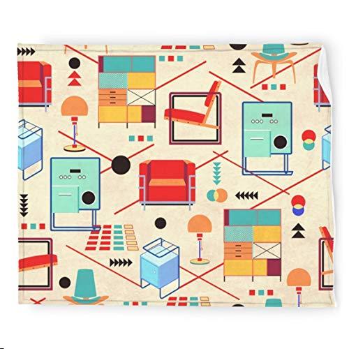 Bauhaus Furniture - Coperta in flanella, morbida e calda e colorata, per divano, 127 x 152 cm