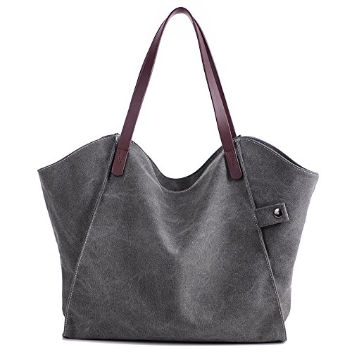 Mfeo Women's Canvas Large Capacity Tote Shoulder Work Bag Handbags Satchel Purse