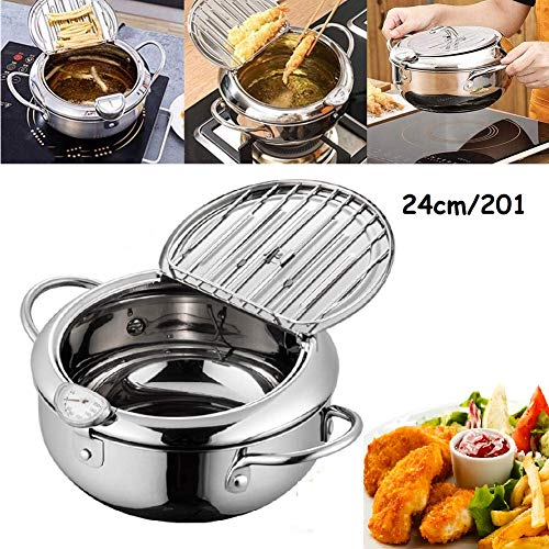 Deep Frying Pan,Temperature Control Fryer,Tempura Fryer Pot,Japanese Style Tempura deep Fryer with Thermometer,Lid and Oil Drip Rack,Nonstick Fryer Pot for Kitchen Cooking 24cm/201