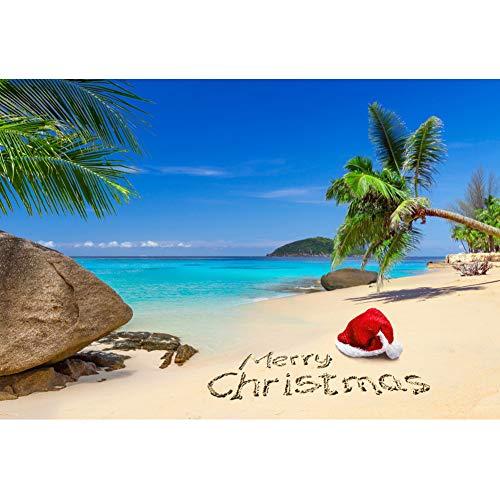 OFILA Tropical Beach Christmas Backdrop 7x5ft Seaside Christmas Holidays Celebration Santa Hat Palm Trees Decoration Chrismtas Photo Booth Merry Christmas Background Studio Photos