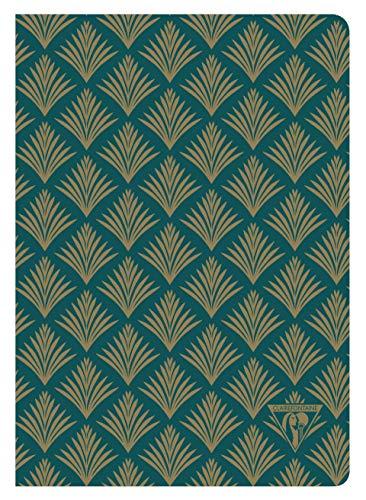 Clairefontaine 192436C Notizbuch Neo Deco Herbst Winter Kollektion, mit Fadenbindung, 14,8 x 21 cm, liniert, 48 Blatt, 90g, elfenbeinfarbiges Papier, 1 Stück, Grün mit Pflanzenmotiven
