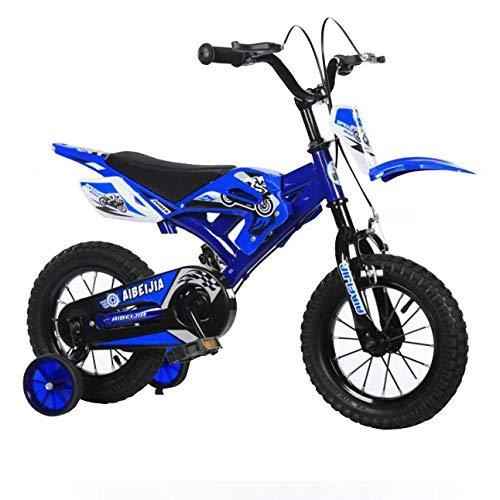 Motocicleta para niños Bebé Juguete para niños al Aire Libre Pedal de Bicicleta para niños Motocicleta 21 pies Gimnasio Motor Dirt Road Niños Motocross Deportes por,Blue