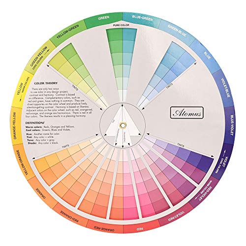 ATOMUS Color Wheel Color Mix Guide 9.05 inch Tattoo Pigment Chart Supplies for Paint Permanent Eyebrow Lip Body Tattoo