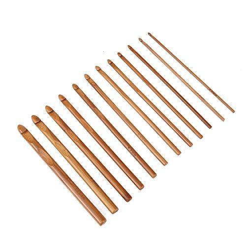 Juego de 12 agujas de tejer de bambú, carbonizadas, para suéter, agujas de ganchillo, agujas, hilo