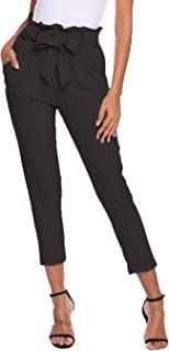Womens Pants Casual High Waist Trouser Cropped Paper Bag Waist Pants with Pockets