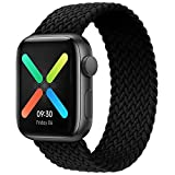 ENJINER Braided Solo Loop Elastic Strap Compatible for Apple Watch Band 38mm 40mm, Stretchy Sports Women Men Wristband with no Clasps or Buckles Compatible for iWatch Series 6/SE/5/4/3/2/1(Black #4)