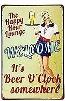 ブリキ メタル プレート サイン 2枚 Shorping Tign Sign Happy Hour Welcome It 's Beer O' clock Somewhere Vintage Retro Rustic Metal Tin Sign Pub Hanging Artwork Plaques WallArt Decorative Retro Vintage Signs 12Inch X 8Inch(30cm X 20cm)