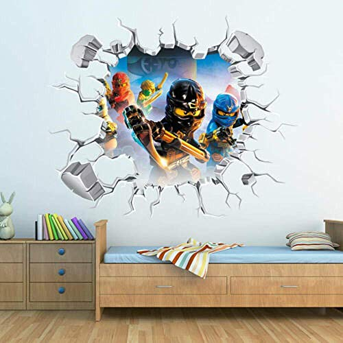 SOLYY Wandtattoos Fototapete 3D Ninjago Loch In Wandaufkleber Kunst Aufkleber Dekor Kinder Schlafzimmer Dekoration