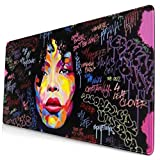African Afro Women Rock Girls Design Pattern XXL XL Large Gaming Mouse Pad Mat Long Extended Mousepad Desk Pad Non-Slip Rubber Mice Pads Stitched Edges (29.5x15.7x0.12 Inch)