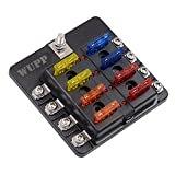 WUPP 12 Volt Fuse Block with LED Warning Indicator Damp-Proof Cover ST 8 Way Waterproof Fuse Block for Car Boat Marine RV Truck