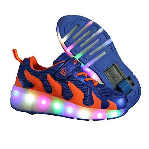 MNVOA Unisex Kinder Mode LED Schuhe mit Rollen Drucktaste Einstellbare Vibration Leuchten Skateboardschuhe Outdoor Gymnastik Turnschuhe Für Junge Mädchen,Blue,34EU