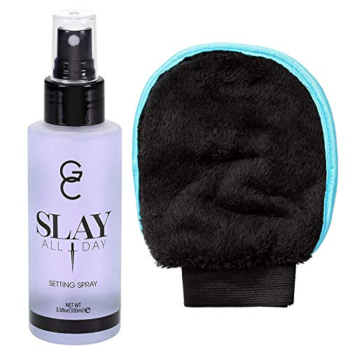 GC Make Up Setting Spray - Gerard Cosmetics Slay All Day Lavender - OIL CONTROL Spray - 3.38oz (100ml) Comes With Whole Life Exfoliating Glove