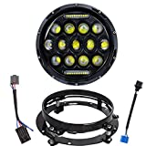 Hsanzeo 7 inch Motorcycle LED Headlight DRL Round Headlamp High Low Beam Projector for Harley Touring Road King Street Glide Ultra Classic Electra Glide FatBoy Heritage Softail Slim Deluxe Switchback