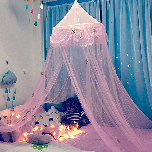 laamei Mosquitera para Cama Princesa Dosel para Camas Infantiles Cuna de Bebés Cortina con Cúpula Redonda para Decoración o Protección Ante Insectos