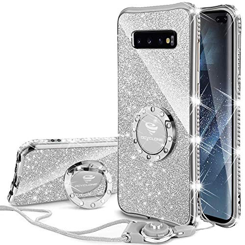 OCYCLONE Galaxy S10+ Plus Case, Cute Glitter Bling Diamond Cute Rhinestone Bumper with Ring Grip Kickstand Protective Soft Samsung Galaxy S10+ Plus Case for Women Girl - Silver