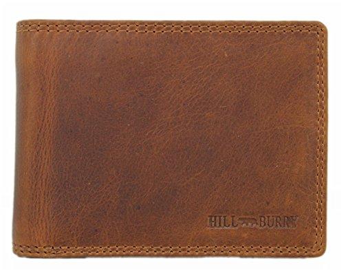Geräumige Herren Leder Geldbörse/Geldbeutel mit Münzfach/Vintage Portmonee/Portemonnaie mit vielen Fächern braun Hill Burry 3625