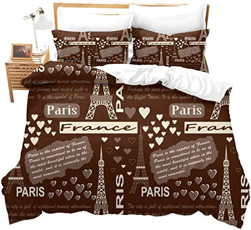 352 France Paris Theme Bedding Cover Kids Teen Vintage Cartoon Eiffel Tower Print Duvet Cover Romantic Love Pattern Bedspread Cover Brown King Bedding Decorative Gift