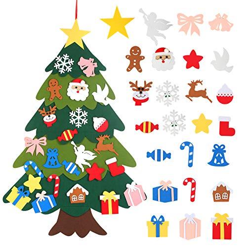 LANMOK Árbol de Navidad de Fieltro DIY, 25pcs Ornamentos Desmontables Navideño Árbol Fieltro Niños Regalos Colgantes Infantiles Juego Interactivo para Padres e Hijos Decoración Pared