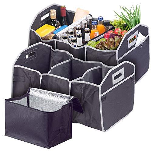Lescars Kofferraumbox: 2er-Set 2in1-Kofferraum-Organizer mit 3 Fächern & Kühltasche, faltbar (Auto-Organizer mit Kühltasche)
