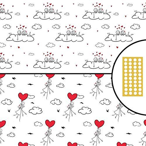 Geschenkpapier – Strichmännchen LUFTBALLON und WOLKEN doppelseitig 5x Bogen 42x59cm gefaltet + Postkarte für Valentinstag Verlobung Hochzeit Geburtstag Frauen Mädchen Freundin Premium nachhaltig
