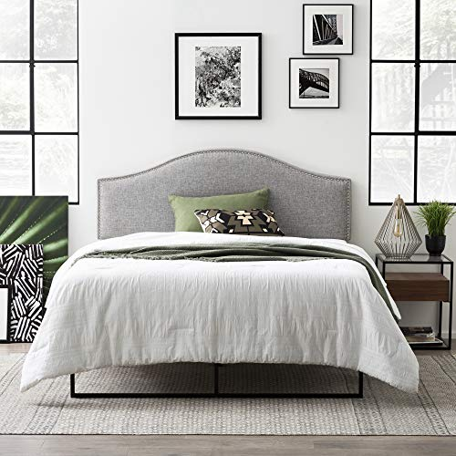 Everlane Home Bristol Upholstered Arched Headboard with Nailhead Trim Platform, Full/Full XL, Pebble