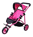 Precious Toys Jogger Hot Pink Doll Stroller, Black Foam Handles and Hot Pink...