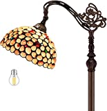 Tiffany Style Reading Floor Lamp W12H64 Inch (LED Bulb Included) Sea Shell Lampshade Antique Lighting Arched Base S618 WERFACTORY Lamps Lover Friends Kids Living Room Bedroom Coffee Bar Crafts Gifts