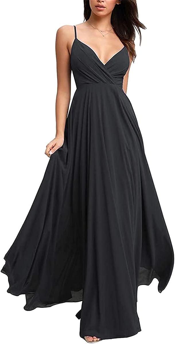 GMAR Spaghetti Strap V Neck Bridesmaid Dresses Long for Wedding Chiffon Prom Maxi Dress for Women