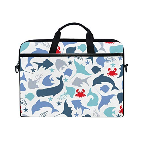 EZIOLY Underwater Fishes Dolphin Blue Whale And Crab Laptop Shoulder Messenger Bag Case Sleeve for 13 Inch to 14 inch Laptop
