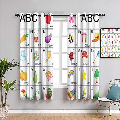 Pcglvie Cortina de ventana para niños, color negro, 160 cm de largo, protección de privacidad, azul, verde, morado, amarillo, 42 x 63 pulgadas